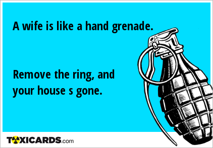 A wife is like a hand grenade. Remove the ring, and your house s gone.