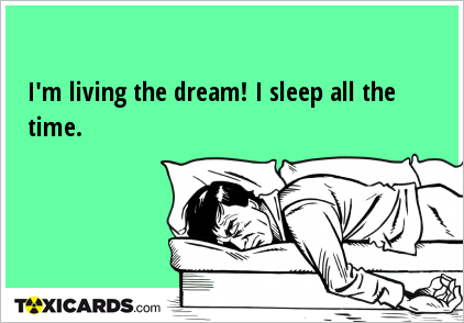 I'm living the dream! I sleep all the time.