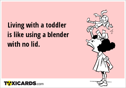 Living with a toddler is like using a blender with no lid.