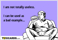 I am not totally useless. I can be used as a bad example...
