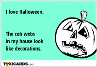 I love Halloween. The cob webs in my house look like decorations.