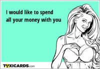 I would like to spend all your money with you