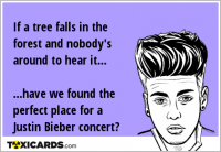 If a tree falls in the forest and nobody's around to hear it... ...have we found the perfect place for a Justin Bieber concert?