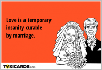 Love is a temporary insanity curable by marriage.
