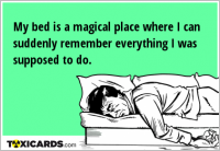My bed is a magical place where I can suddenly remember everything I was supposed to do.