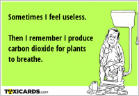 Sometimes I feel useless. Then I remember I produce carbon dioxide for plants to breathe.